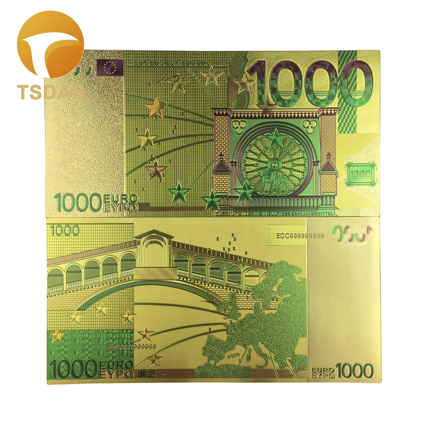 Colored Euro Banknotes 1000 EUR Gold Banknotes In 24K Gold Plated For Souvenirs