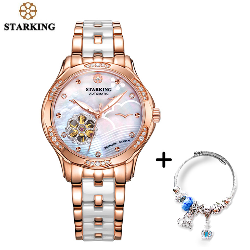STARKING Automatic Lady Watch Rose Gold Steel Case Vogue Dress Watches Bracelet Set Skeleton Transparent Watch Women
