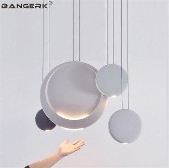 BANGERK Nordic Design Modern LED Pendant Light Circular Resin Hanging Lamp Loft Art Home Decor Indoor Lighting Droplight