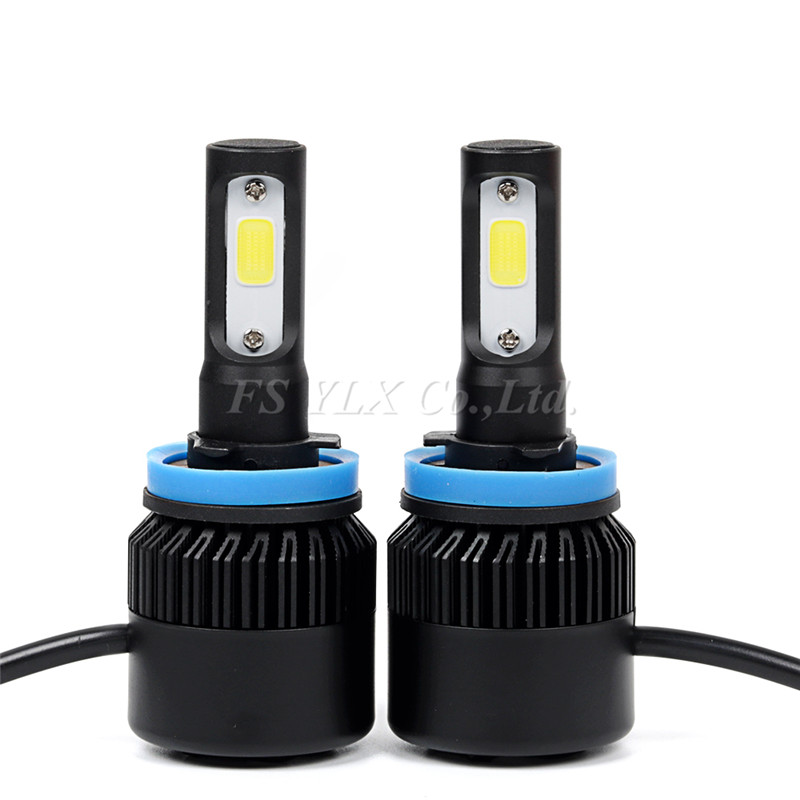 h8 h9 h11 COB LED Car Headlight Bulb Kit 72W 8000lm Auto Front Light H11 Fog Light Bulbs 6500K 12V 24V Led Automotive Headlamp  geetans 80w 8000lm h7 880 h27 h8 h9 h11 hb3 hb4 led automotive headlamp cob car headlight bulb auto front fog light bulbs 6000k