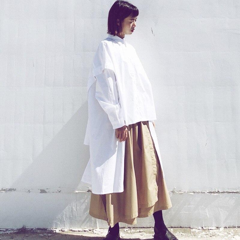LANMREM 2019 Women Spring Autumn Irregular Patchwork Turn down Collar Shirt Female Fashion Long Sleeve Solid