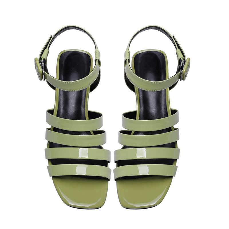 ISNOM Gladiator Sandalen Frauen Sommer Bunte Kristall Sandalen High Heels Schuhe Weibliche Mode Party Kuh Leder Schuhe Damen Neue