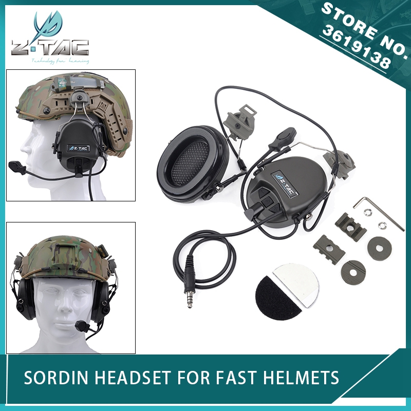 Z Tactical Airsoft Anti-Noise Sordin Headphone Peltor Aviation Earphone with FAST Helmet Rail Adapter Set Softair Headset FGZ Tactical Airsoft Anti-Noise Sordin Headphone Peltor Aviation Earphone with FAST Helmet Rail Adapter Set Softair Headset FG