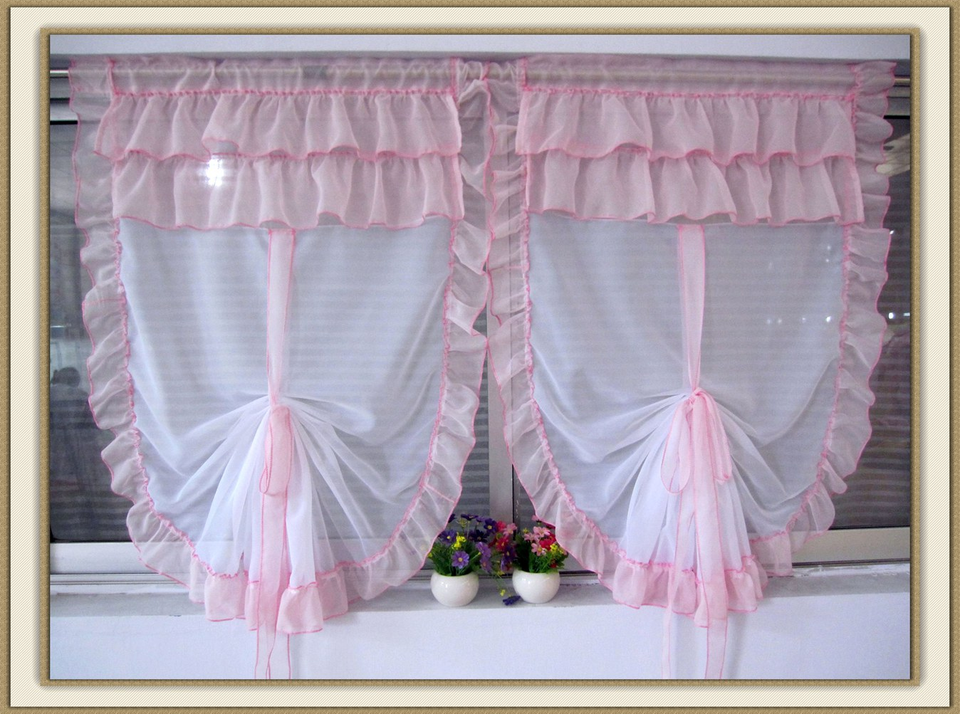 Zhh 2016 Hot Tulle For Bay Window Roman Curtain Blinds