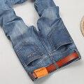 Mens Marca de Jeans homens 2016 calças Causais jeans Regular fit denim jeans Motociclista Washed Blue jeans para homens
