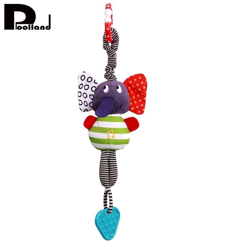 NewCute Music Elephant Lathe Rattles Hang Baby Kids Dolls Toys New Infant Educational Toys Teether Rattles Bed Hanging Belt P20