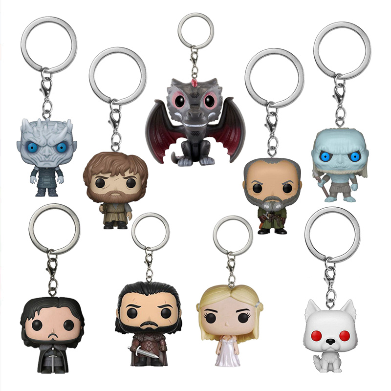 Game Of Thrones Figures Popular Pocket Keychain Daenerys Night King Arya Stark Jon Snow White Walker Action Figure Keychains