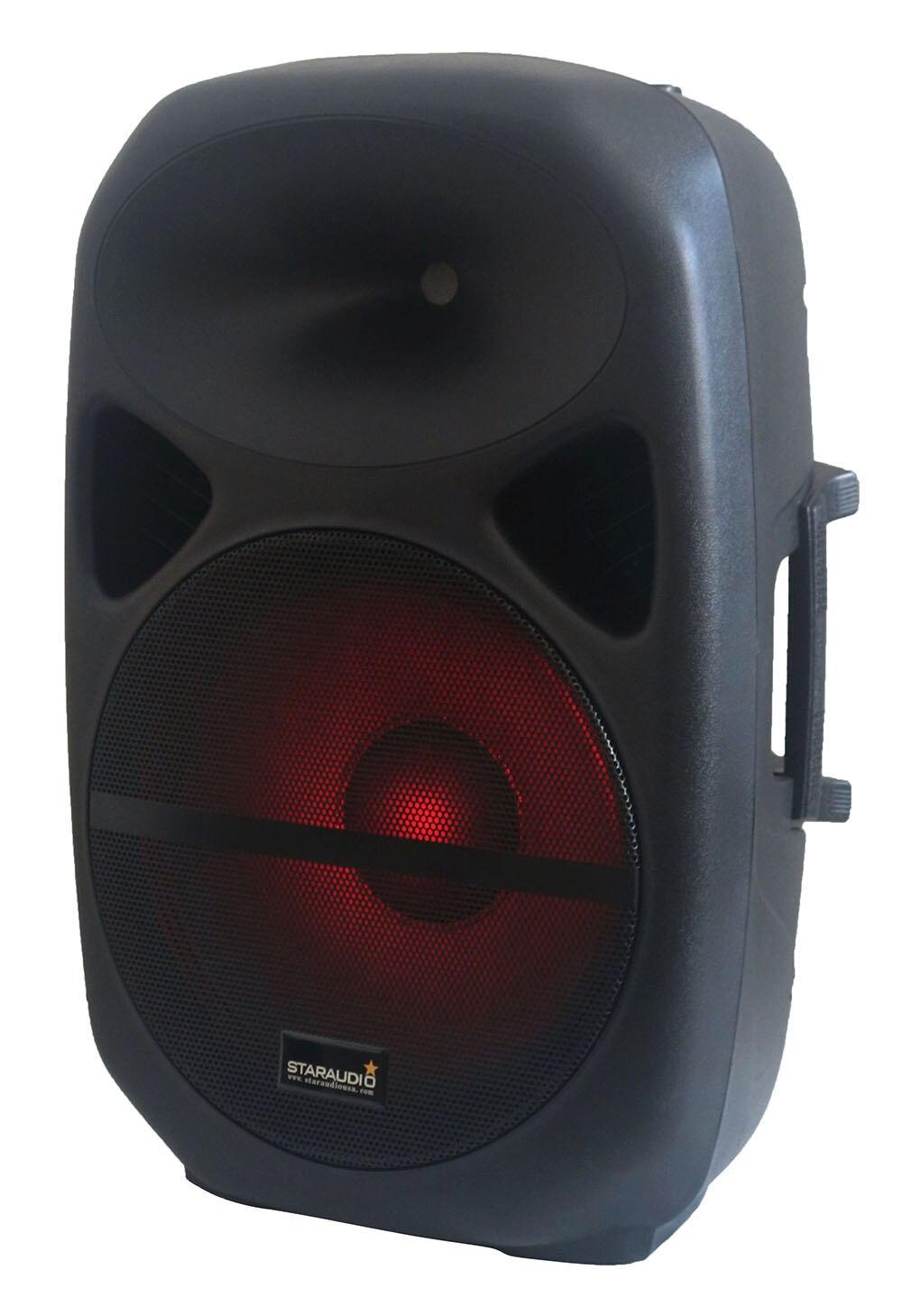 staraudio 15 2500w pro pa dj powered speaker with led lighting rgb bluetooth sd card usb mp3 player for karaoke ktv party disco