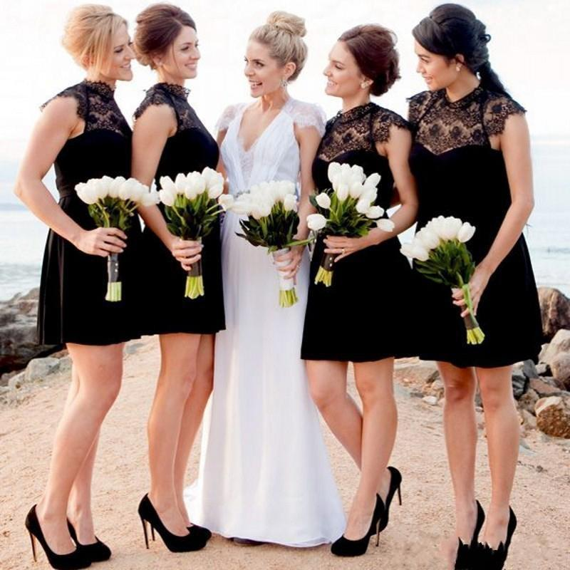 Black short lace bridesmaid dresses 2017 high neck cap for Beach wedding dresses 2017