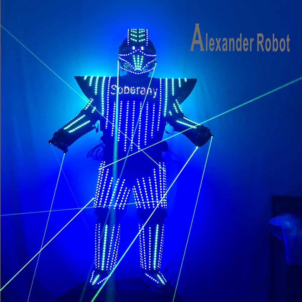 LED Costume logo conception vêtements Costume léger costumes LED Robot costumes/ALEXANDER robot