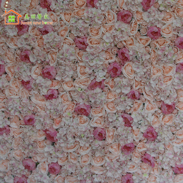 Flower Wall Red Silk Rose Green Leaf Artificial Wedding Background Lawn Pillar Road Lead Home Decoration