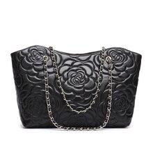 Rose Embossing Sheepskin Genuine Leather Bags Handbags Women Famous Brands Designer Big Causal Bag Shoulder Bags Bolsas Feminina