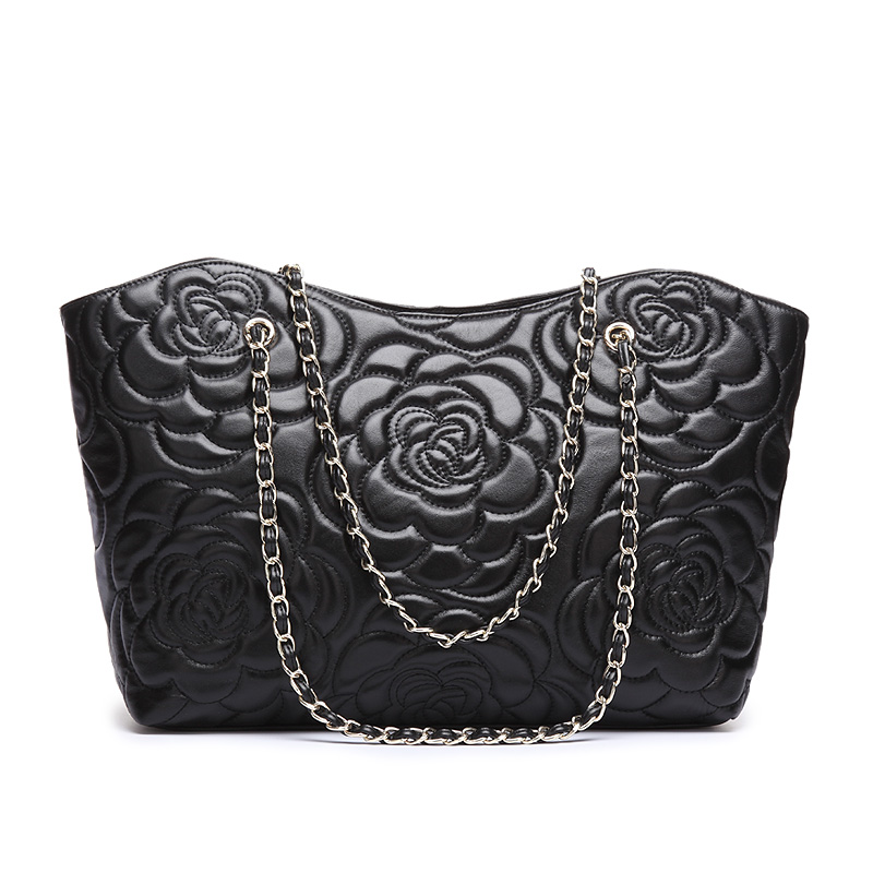 High Quality piece lot Genuine Sheepskin Leather Handbag Retro black Rose Pattern