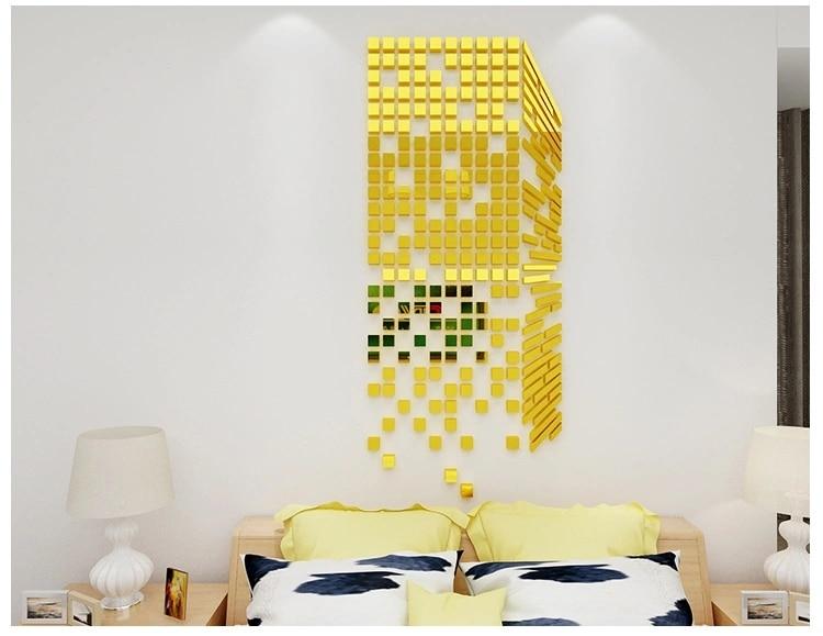 Creative 3D acrylic DIY square mirror decorative wall stickers