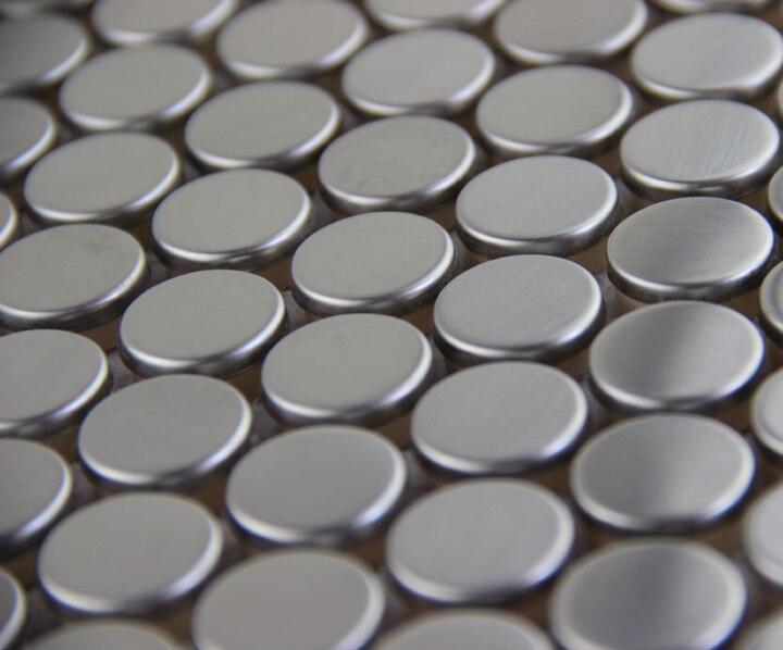 Keuken Rvs Wandpanelen : Hot koop ronde zilveren metalen mozaïek rvs tegel deco wandpaneel