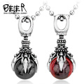 2016 New Necklace Pendant Stainless Steel Fashion Claw Stone Necklace Pendant With Red/Black Stone BP8-122