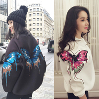 2017 Autumn Winter Embroidery Three Butterflies Space Cotton T shirt O neck Pullover Long Sleeve Fashion Tee Shirts