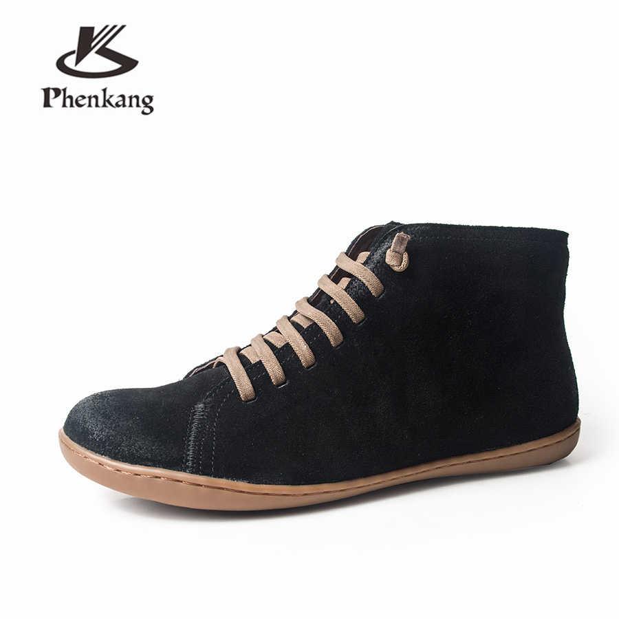 Phụ nữ Khởi Động mùa đông Chính Hãng da bò da lộn mắt cá chân thường chất lượng Thoải Mái mềm handmade phẳng Giày Giày màu đỏ đen màu xám với lông thú