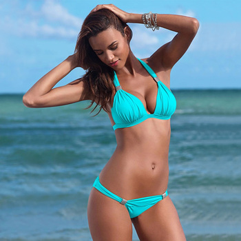 Push Up Bikini 2019 Two Piece Swimsuit Women High Waist Black Pink Bikini Set Plus Size Swimwear Beach Bathing Suits Bikinis 2XL 6