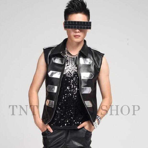 Fashion Men Black leather Slim Casual Vest Stage Wear Show For Nightclub Men's Singer Man Costumes Performance Palace Jacket