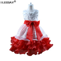 High Quality 2017 Toddler Girls Princess Tutu Dresses Children Wedding Party Flower Bow Bridesmaid Girl Lace Cake Dress Costume