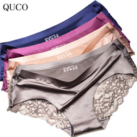 QUCO Luxury Women Seamless Underwear Sexy Floral Hollow Lace Panties Woman Smooth Soft Lingerie Briefs Cute