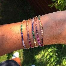 Charme quente tênis cz zircon arco-íris pulseira para mulheres luxo multicolorido cristal pulseira casal jóias presentes 2020