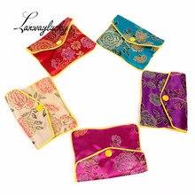 7.5x6.5 9.5x7.5cm Wholesale Cheap Small Zipper Coin Pouches Chinese Silk Brocade Jewelry Pouch Gift Bags Women Mini Purse Bag