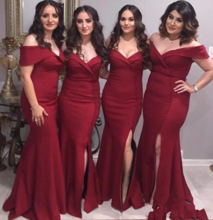 2019 Charming Burgundy Mermaid   Bridesmaid     Dresses   Off Shoulders Side Split Wedding Party Guest Wear Ruched Satin   Dress