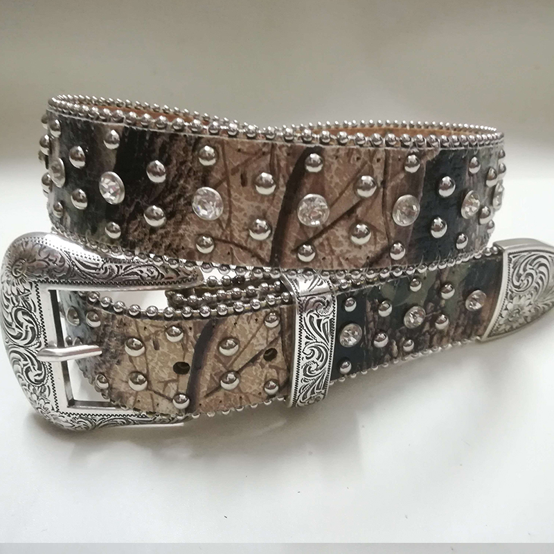 Western Leather Cowgirl Canvas Fabric clear Acrylic Crystal Camo cowboy Camouflage Camo New BELTS