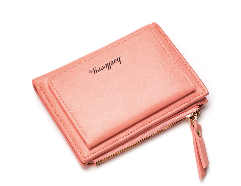 Women Wallet Small Purse Female Wallet Credit card slots zipper coin pocket Leather Wallet lovely pink one size 7