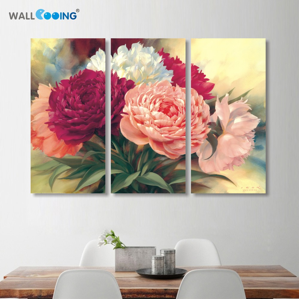 home decoration Chinese peony flowers canvas painting wall