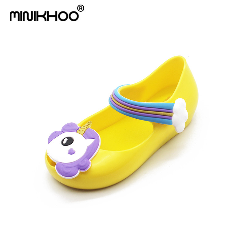 Mini Melissa Unicorn Fragrance Girls Jelly Sandals 2018 Children Shoes Melissa Baby Princess Shoes Flat Sandals Non-slip Sandals