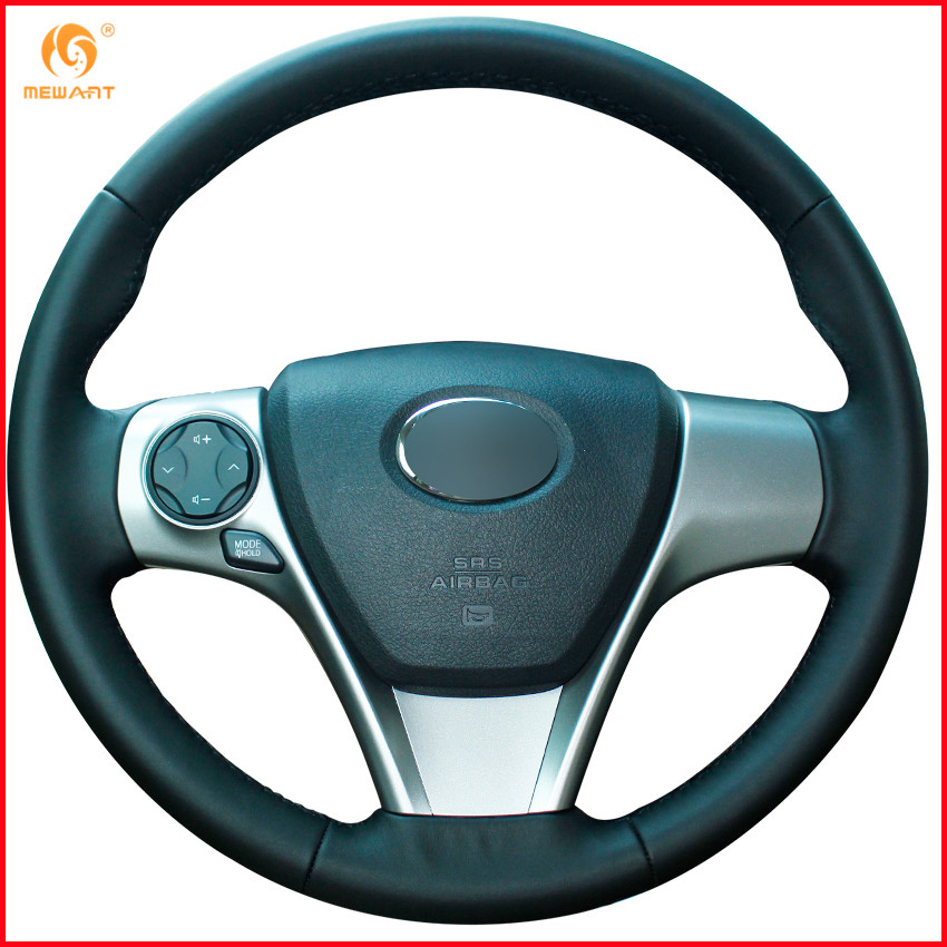 Mewant black genuine leather car steering wheel cover for - 2013 toyota camry interior parts ...