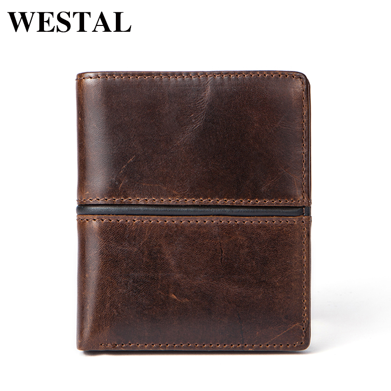 WESTAL Wallets Purse Genuine Cowhide Leather Men Wallet Short Coin Purse Small Vintage Wallet Brand High Quality Designer 7103 vintage genuine leather wallets men fashion cowhide wallet 2017 high quality coin purse long zipper clutch large capacity bag