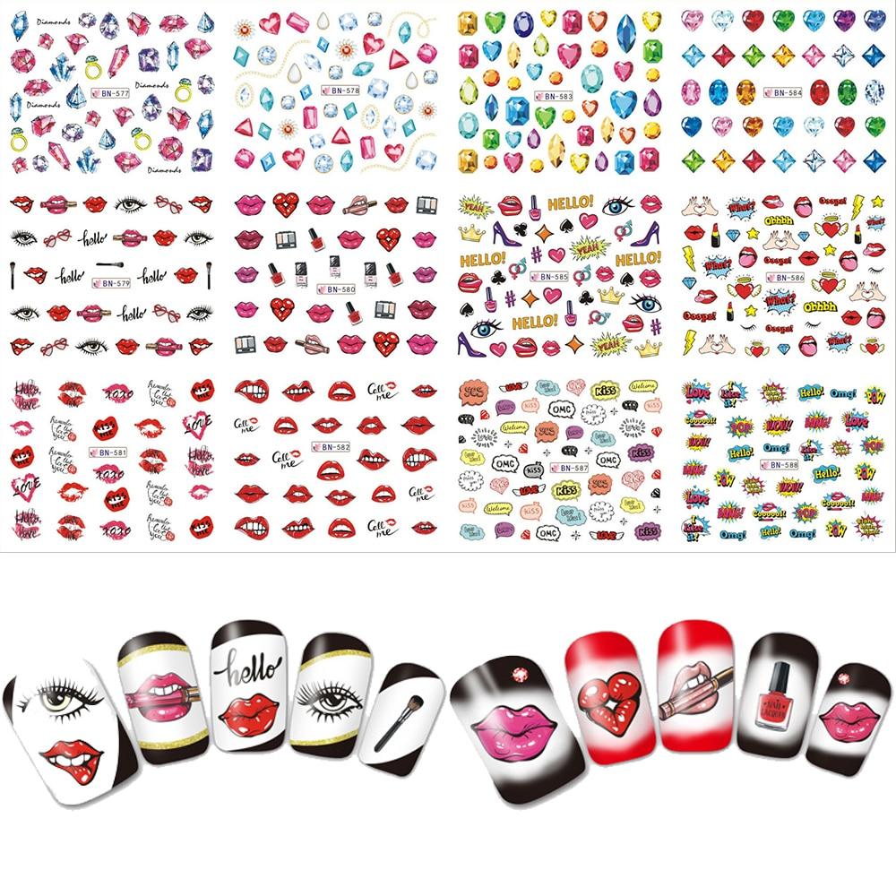 12pcs Beauty Makeup Lips Diamond Slider Water Transfer Nail Art Sticker 3 CONCERT EYES Nails Care Decals DIY Labels BN577-588