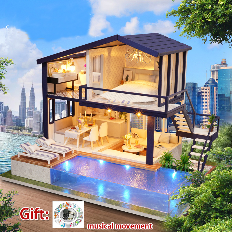 Diy Miniature Doll House Kit Large Wooden House Model Building Toy DOUBLE APARTMENT with Music Girl Birthday Gift Poppenhuis mylb assembling diy miniature model kit wooden doll house paris apartment house toy with furnitures