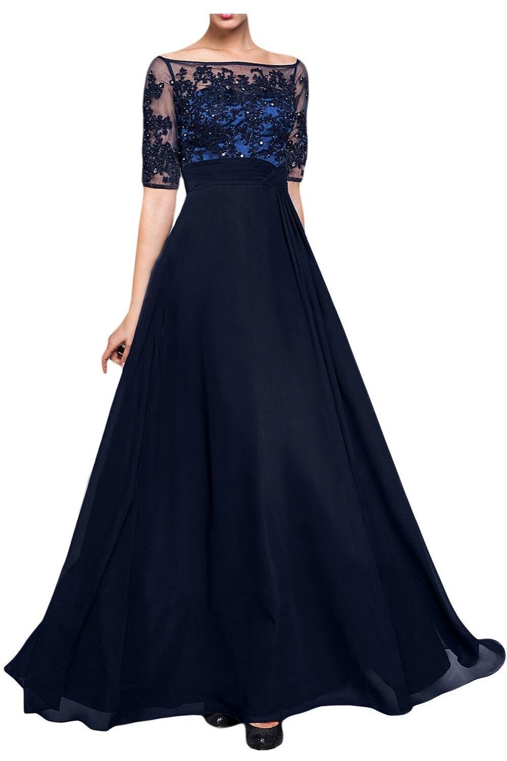 Femmes élégantes robes pour mère de la mariée et le marié demi manches bleu marine longue robe de soirée 2016