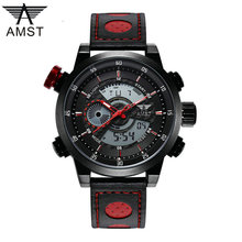 Luxury Brand AMST Men's Quartz relogio masculino Digital Watches Men Fashion Casual Sports Clock Leather Military Wristwatches