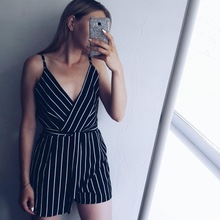 Kenancy Women Striped Belted Romper Deep V Neck Spaghetti Strap Sleeveless Bowknot Playsuits 2018 Summer Overalls