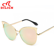DILICN Fashion Women Metal Sunglasses Retro Designer Cat Eye Sunglasses Pink Oculos De Sol Feminino Vintage Gafas De Sol Mujer