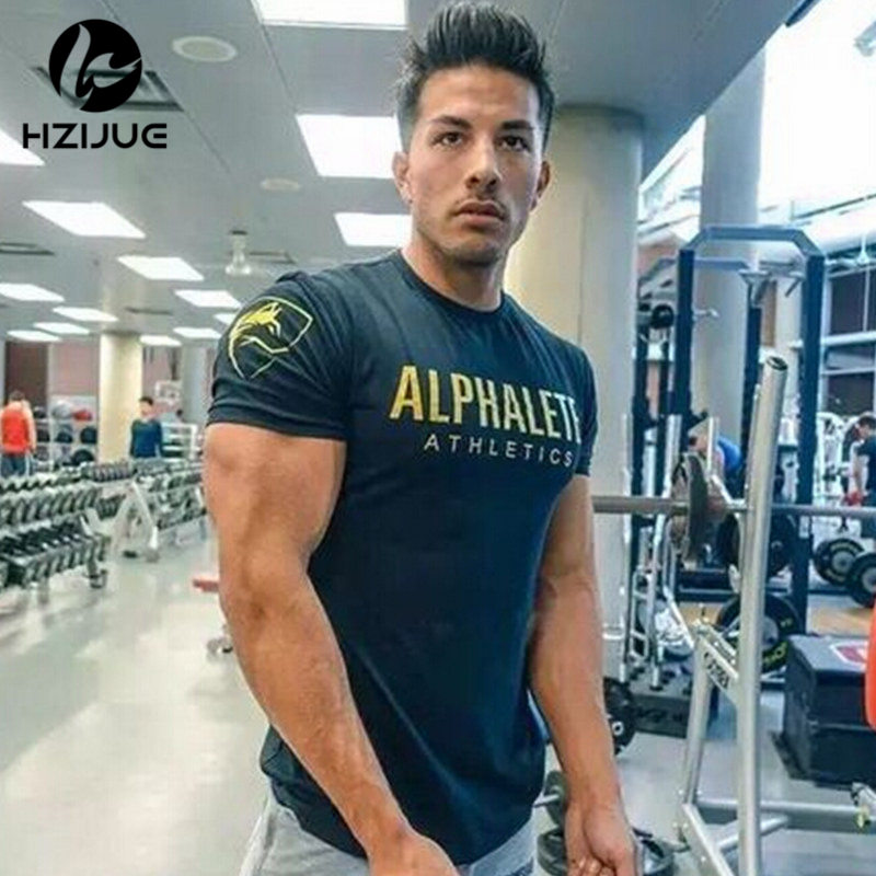 2018 Summer New Mens Gyms T shirt Crossfit Fitness Bodybuilding Shirts Printed Fashion Male Short Cotton Clothing Brand Tee Tops