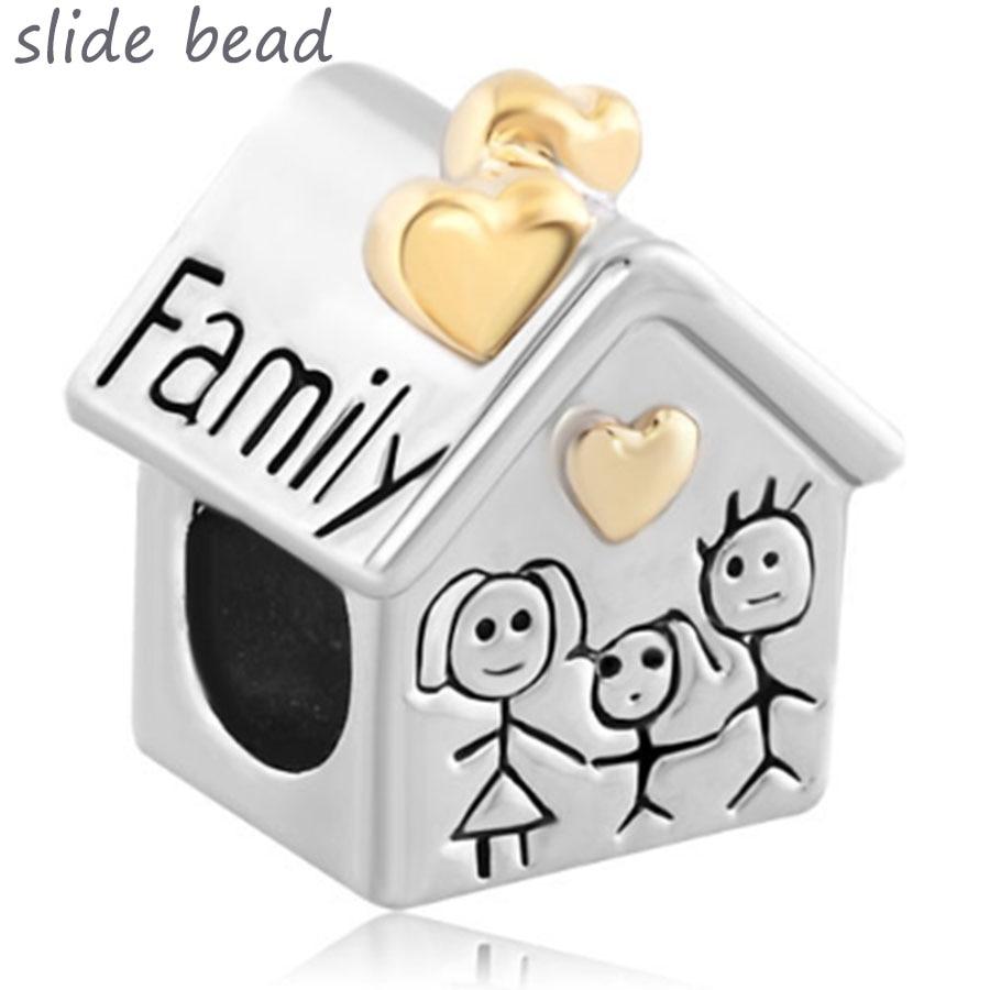 slide bead Plated dvobojna narukvica perla moja obitelj. Fit Pandora šarm narukvice blagdanske darove