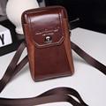 New Men Genuine Leather Cowhide Hook Cell/Mobile Phone Case Cover Messenger Shoulder Belt Fanny Bag Waist Pack Purse Father Gift