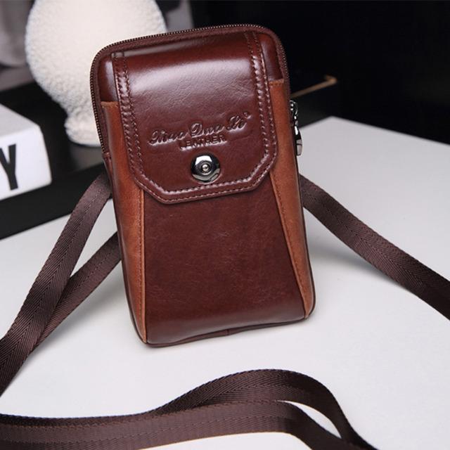Novos Homens Genuíno Couro De Couro Gancho Celular/Tampa da Caixa Do Telefone Móvel saco do Mensageiro Ombro Saco Fanny Cinto Pacote de Cintura Bolsa pai Presente