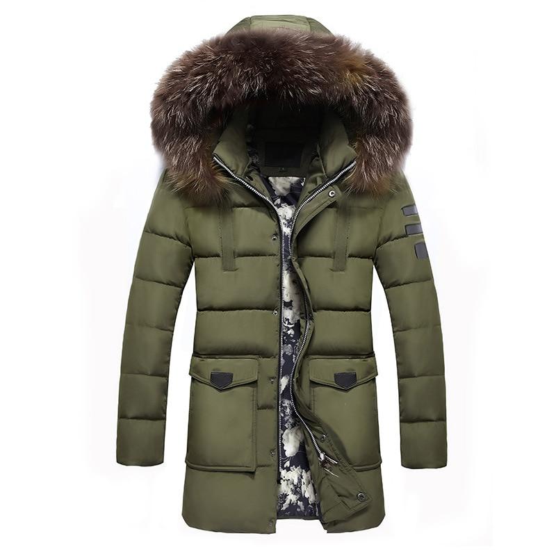 Winter Jackets Men 2019 Fur Collar Oversized Long Parkas Men's Overcoats Thick Puffy Side Zipper Casual Hooded Jackets Coats