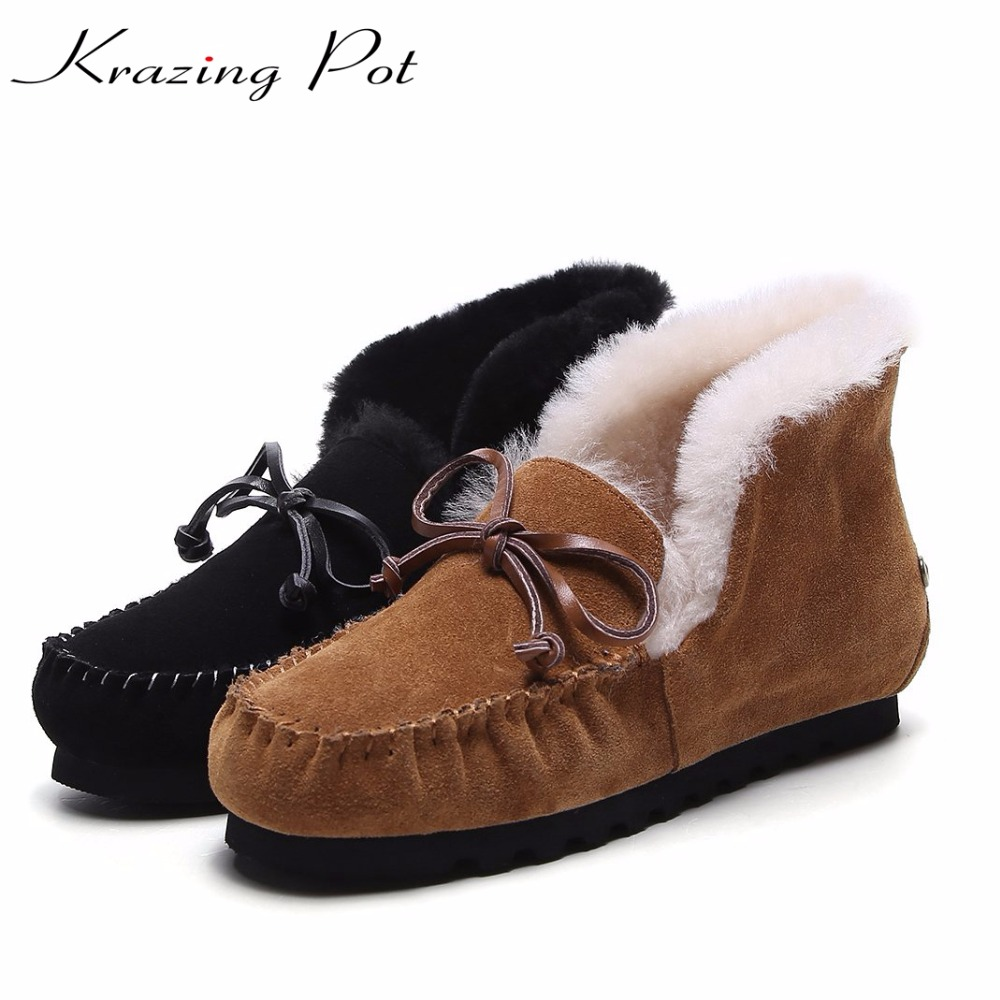 Krazing pot vintage preppy style cow suede flat with sheep fur winter boots bowtie superstar keep warm big size snow boots  L59 quality assurance sheep fur snow boots female warm winter flat bandage calf height boots large size free shipping