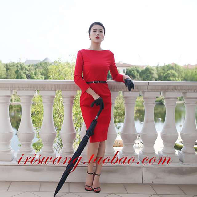 30- women vintage 50s Audrey Hepburn boat neck wiggle midi pencil dress in  red plus size vestidos elegant work dresses jurken 17be8efbf5aa