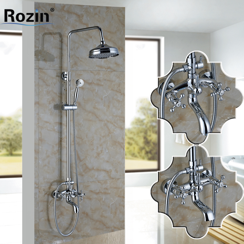 Dual Cross Handles Brass Chrome 8 Rainfall Shower Mixer Faucet with Sliding Bar Bath Shower Hot and Cold Water Taps antique brass swivel spout dual cross handles kitchen