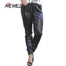 ADEWEL Casual Women Sequin Pencil Pants Sexy High Waist Long Sparkle Black Drawstring Stretch Clubwear Maxi Trousers